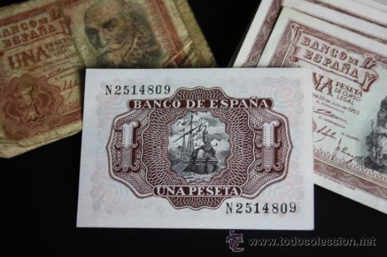Lotes de Billetes: LOTE DE 57 BILLETES DE 1 PESETA DE 1953 - DIVERSAS SERIES Y CONSERVACIONES - Foto 2 - 38341191