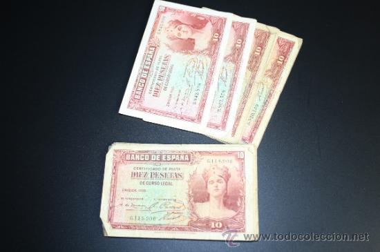 Lotes de Billetes: LOTE DE 54 BILLETES DE 10 PESETAS DE 1935 - REPÚBLICA - 23 SIN SERIE - DIVERSAS CONSERVACIONES - Foto 2 - 38341448