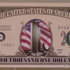 Lotes de Billetes: BILLETE EEUU CONMEMORATIVO. DÓLAR. TORRES GEMELAS, NUEVA YORK. MILITAR.. Lote 155896774