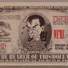 Lotes de Billetes: BILLETE EEUU CONMEMORATIVO. DÓLAR. NO A LA INMIGRACIÓN ILEGAL. FRONTERAS INMIGRANTES.. Lote 155898165