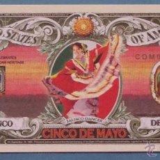 Lotes de Billetes: BILLETE EEUU CONMEMORATIVO. DÓLAR. 5 DE MAYO, BATALLA DE PUEBLA, MÉXICO, JALISCO BAILARINA. . Lote 155898366