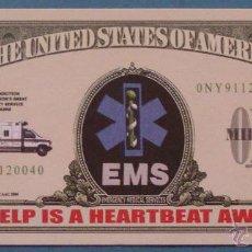Lotes de Billetes: BILLETE EEUU CONMEMORATIVO. DÓLAR. SANITARIOS 911, EMS, URGENCIAS, AMBULANCIA. . Lote 155897170