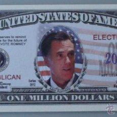 Lotes de Billetes: BILLETE EEUU CONMEMORATIVO. DÓLAR. POLÍTICO POLÍTICA. MITT ROMNEY, CANDIDATO REPUBLICANO. . Lote 155896902