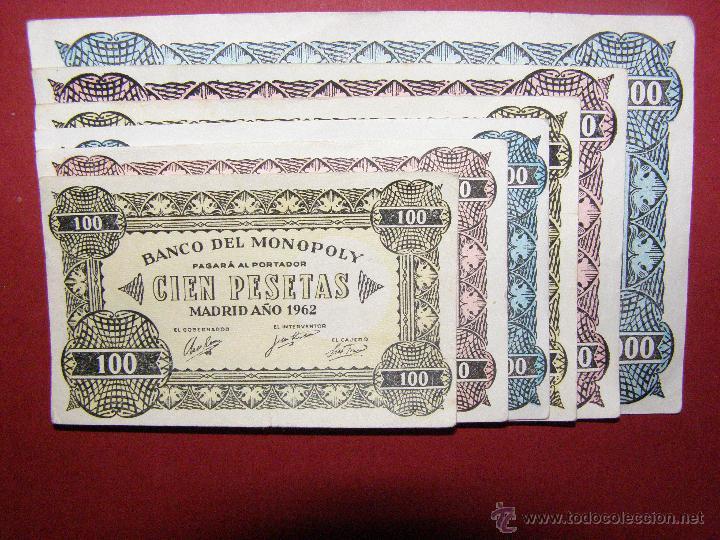 LOTE BILLETES BANCO DEL MONOPOLY -100, 500, 50.000 PESETAS - MADRID AÑO 1962 - (Numismática - Notafilia - Series y Lotes)