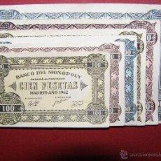Lotes de Billetes: LOTE BILLETES BANCO DEL MONOPOLY -100, 500, 50.000 PESETAS - MADRID AÑO 1962 -. Lote 196533243