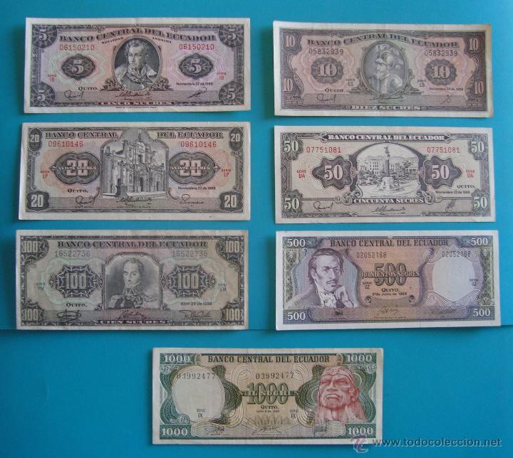 7 BILLETES ANTIGUA MONEDA ECUADOR DESDE 5 A 1000, SUCRE MONEDA USADA ANTES DE LA DOLARIZACION (Numismática - Notafilia - Series y Lotes)