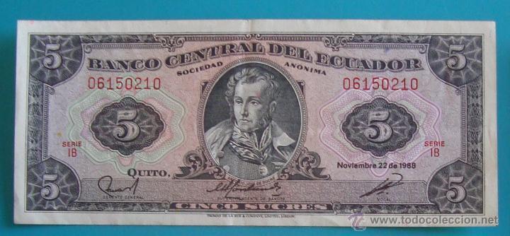 Lotes de Billetes: 7 BILLETES ANTIGUA MONEDA ECUADOR DESDE 5 A 1000, SUCRE MONEDA USADA ANTES DE LA DOLARIZACION - Foto 2 - 41130264
