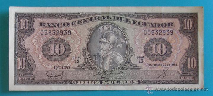 Lotes de Billetes: 7 BILLETES ANTIGUA MONEDA ECUADOR DESDE 5 A 1000, SUCRE MONEDA USADA ANTES DE LA DOLARIZACION - Foto 3 - 41130264