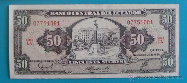Lotes de Billetes: 7 BILLETES ANTIGUA MONEDA ECUADOR DESDE 5 A 1000, SUCRE MONEDA USADA ANTES DE LA DOLARIZACION - Foto 5 - 41130264