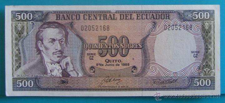 Lotes de Billetes: 7 BILLETES ANTIGUA MONEDA ECUADOR DESDE 5 A 1000, SUCRE MONEDA USADA ANTES DE LA DOLARIZACION - Foto 7 - 41130264