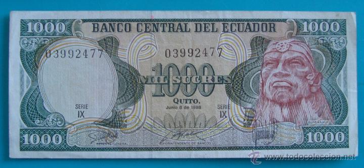Lotes de Billetes: 7 BILLETES ANTIGUA MONEDA ECUADOR DESDE 5 A 1000, SUCRE MONEDA USADA ANTES DE LA DOLARIZACION - Foto 8 - 41130264