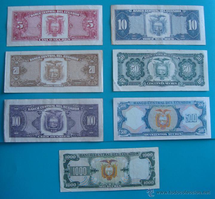 Lotes de Billetes: 7 BILLETES ANTIGUA MONEDA ECUADOR DESDE 5 A 1000, SUCRE MONEDA USADA ANTES DE LA DOLARIZACION - Foto 9 - 41130264