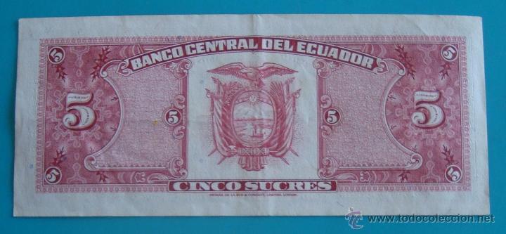 Lotes de Billetes: 7 BILLETES ANTIGUA MONEDA ECUADOR DESDE 5 A 1000, SUCRE MONEDA USADA ANTES DE LA DOLARIZACION - Foto 10 - 41130264