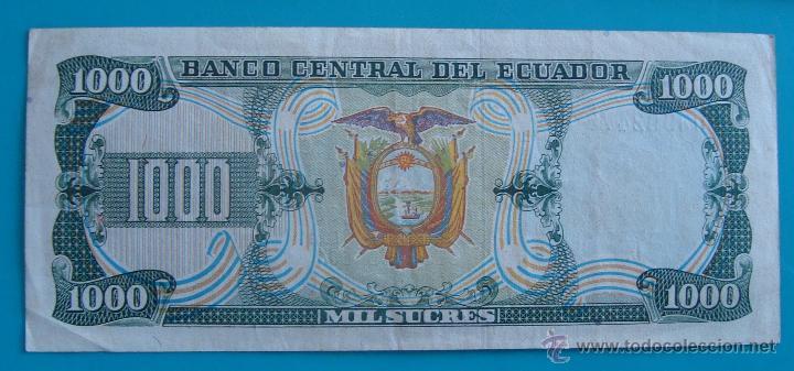 Lotes de Billetes: 7 BILLETES ANTIGUA MONEDA ECUADOR DESDE 5 A 1000, SUCRE MONEDA USADA ANTES DE LA DOLARIZACION - Foto 16 - 41130264