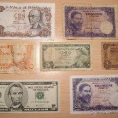Lotes de Billetes: LOTE DE BILLETES - BILLETE 200 / 100 / 25 / 1 PESETAS Y 5 DOLARES. Lote 41386878