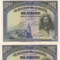 Lotes de Billetes: 1000 PESETAS DE 1928 SIN SERIE-PAREJA CORRELATIVA 1000PTAS DE 1928. Lote 42564064