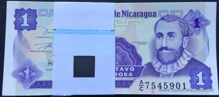 LOTE 100 BILLETES 1 CENTAVO NICARAGUA (Numismática - Notafilia - Series y Lotes)