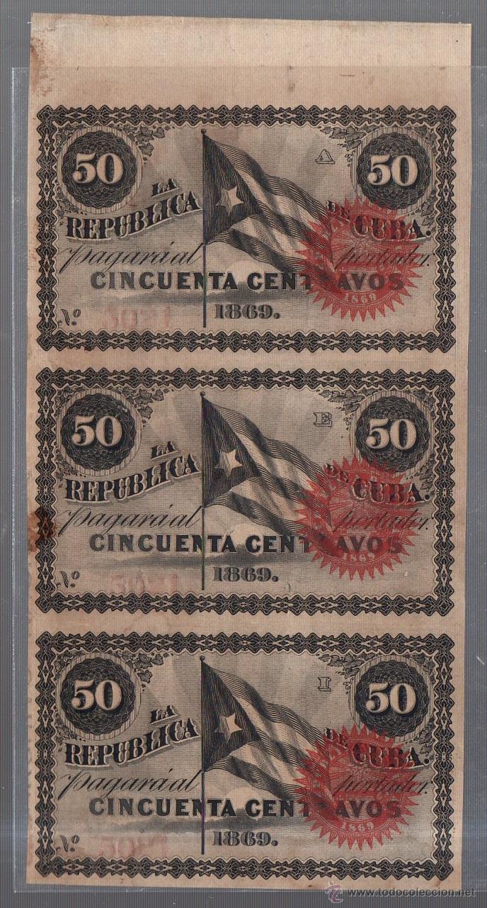 LOTE DE 3 BILLETES. CORRELATIVOS. CUBA. 50 CENTAVOS. 1869. VER (Numismática - Notafilia - Series y Lotes)