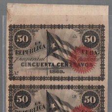 Lotes de Billetes: LOTE DE 3 BILLETES. CORRELATIVOS. CUBA. 50 CENTAVOS. 1869. VER. Lote 53805629