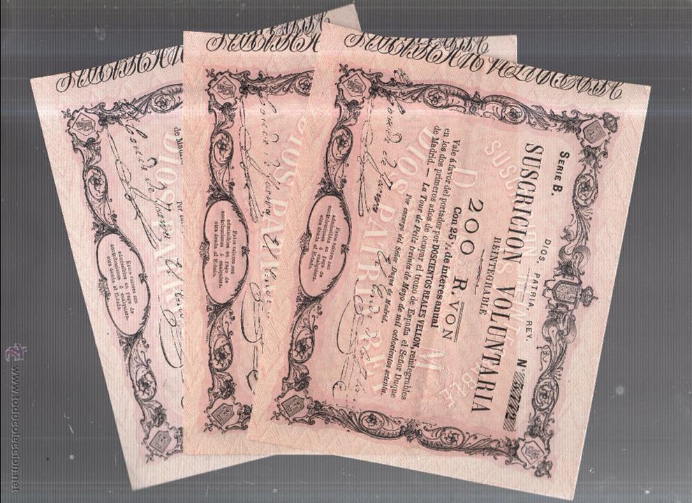 BILLETES. TRIO CORRELATIVO DE 200 REALES DE VELLON. 1870. LA TOUR DE PEILZ. (Numismática - Notafilia - Series y Lotes)