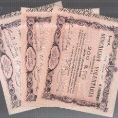 Lotes de Billetes: BILLETES. TRIO CORRELATIVO DE 200 REALES DE VELLON. 1870. LA TOUR DE PEILZ.. Lote 54170297
