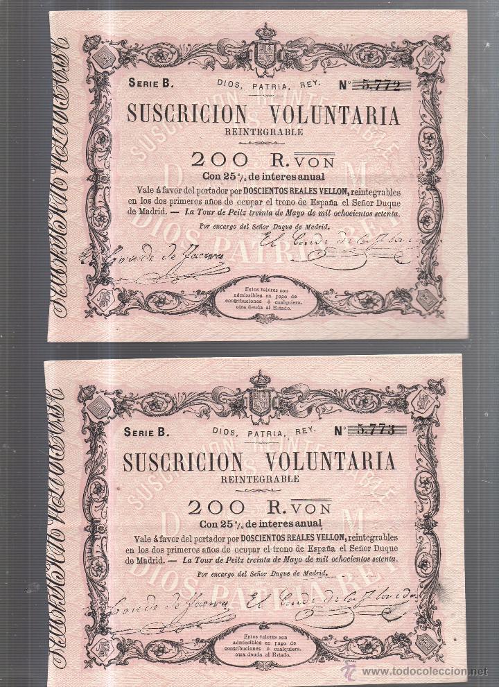 Lotes de Billetes: BILLETES. TRIO CORRELATIVO DE 200 REALES DE VELLON. 1870. LA TOUR DE PEILZ. - Foto 2 - 54170297