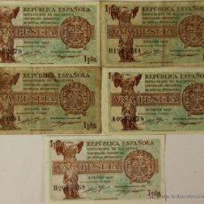 Lotes de Billetes: BI-043 - LOTE DE 5 BILLETES DE 1 PESETA. REPÚBLICA ESPAÑOLA. EMISIÓN 1937.. Lote 50334185