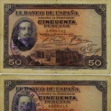 Lotes de Billetes: BI-044 - LOTE DE 2 BILLETES DE 50 PESETAS. BANCO DE ESPAÑA. 1927.. Lote 50334484