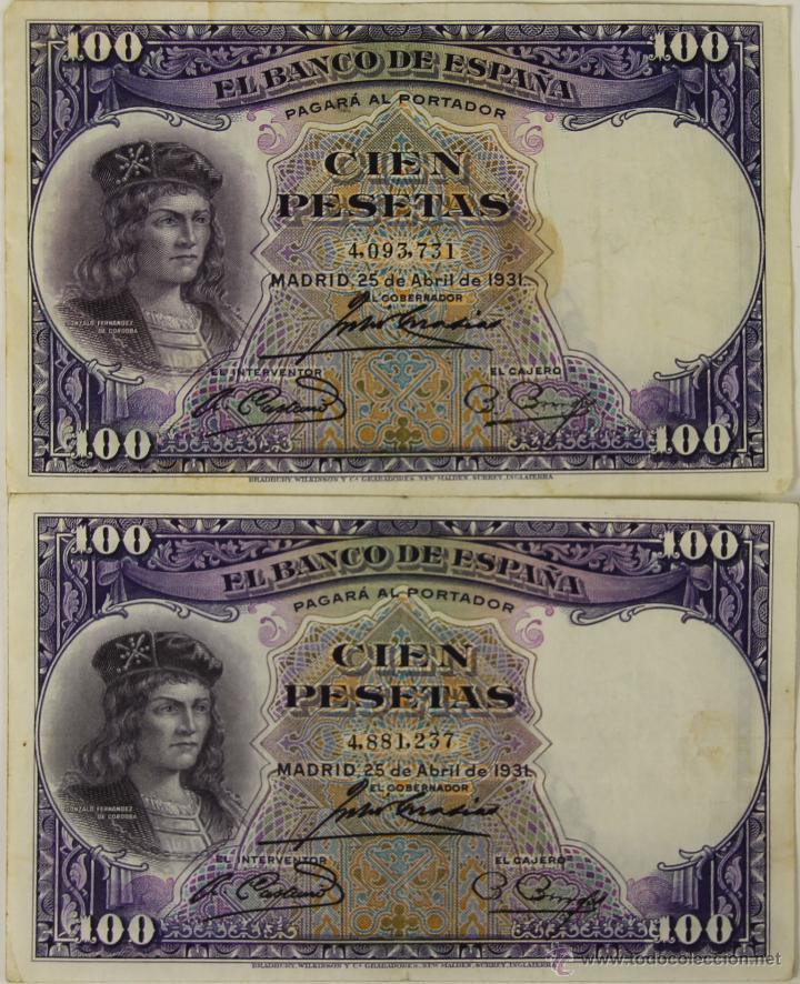 BI-045 - LOTE DE 2 BILLETES DE 100 PESETAS. BANCO DE ESPAÑA. 1931. (Numismática - Notafilia - Series y Lotes)