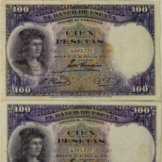 Lotes de Billetes: BI-045 - LOTE DE 2 BILLETES DE 100 PESETAS. BANCO DE ESPAÑA. 1931.. Lote 50334843