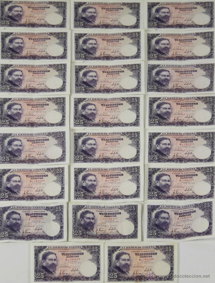 BI-001 - LOTE DE 24 BILLETES DE 25 PESETAS. BANCO DE ESPAÑA. 1954. (Numismática - Notafilia - Series y Lotes)