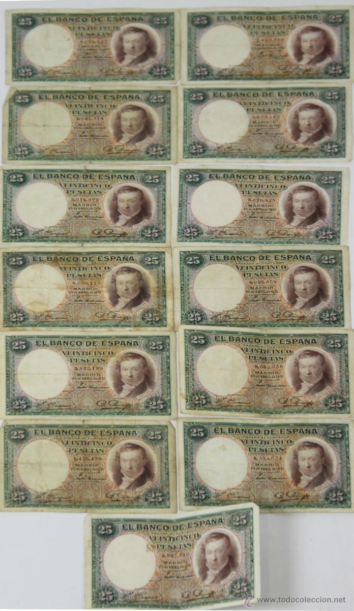 BI-005 - LOTE DE 14 BILLETES DE 25 PESETAS. BANCO DE ESPAÑA. 1931. (Numismática - Notafilia - Series y Lotes)
