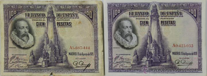 BI-008 - LOTE DE 3 BILLETES DE 100 PESETAS. BANCO DE ESPAÑA. 1928. (Numismática - Notafilia - Series y Lotes)
