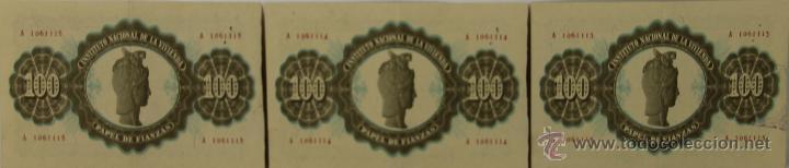 BI-027 - LOTE DE 3 BILLETES DE 100 PESETAS. PAPEL DE FIANZAS. INV.1940. (Numismática - Notafilia - Series y Lotes)