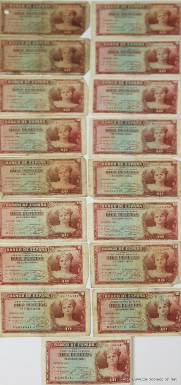 BI-029 - LOTE DE 20 BILLETES DE 10 PESETAS. BANCO DE ESPAÑA. EMISIÓN 1935. (Numismática - Notafilia - Series y Lotes)