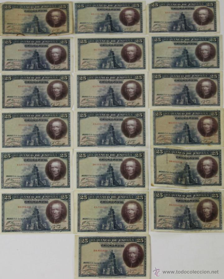 BI-035 - LOTE DE 20 BILLETES DE 25 PESETAS. BANCO DE ESPAÑA. 1928. (Numismática - Notafilia - Series y Lotes)