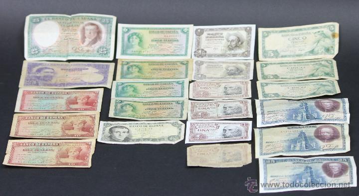 BI-016 - LOTE DE 22 BILLETES. VARIOS (VER DESCRIPCIÓN). ESPAÑA. 1928-1954. (Numismática - Notafilia - Series y Lotes)