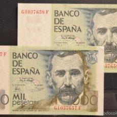 Lotes de Billetes: PAREJA CORRELATIVA BILLETE 1000 PESETAS 1979 BENITO PEREZ GALDOS SERIE GF. Lote 55323565