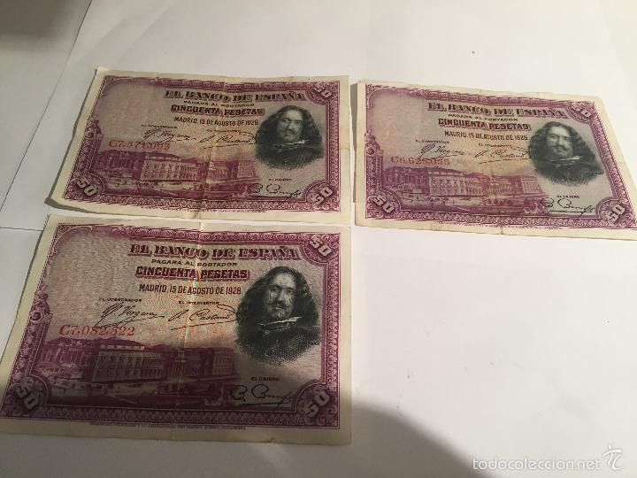 3 BILLETES DE 50 PESETAS DE 15 AGOSTO DE 1928 MBC (Numismática - Notafilia - Series y Lotes)