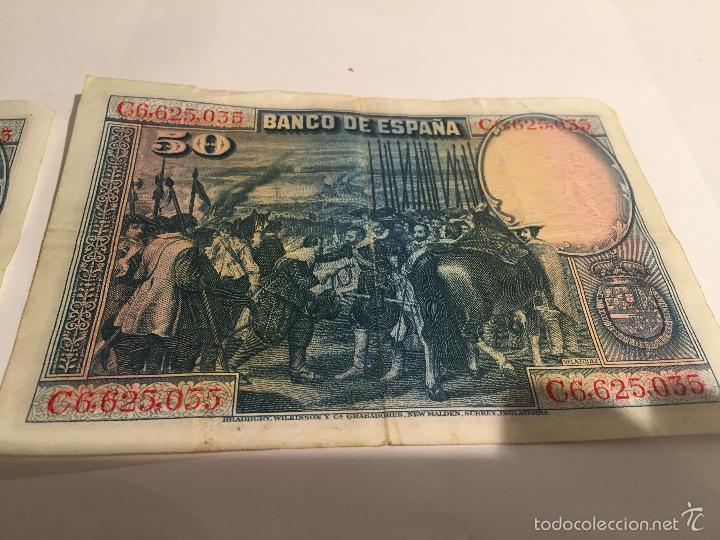 Lotes de Billetes: 3 billetes de 50 pesetas de 15 agosto de 1928 MBC - Foto 3 - 55685012