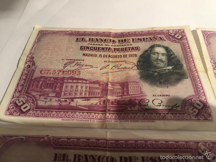 Lotes de Billetes: 3 billetes de 50 pesetas de 15 agosto de 1928 MBC - Foto 6 - 55685012