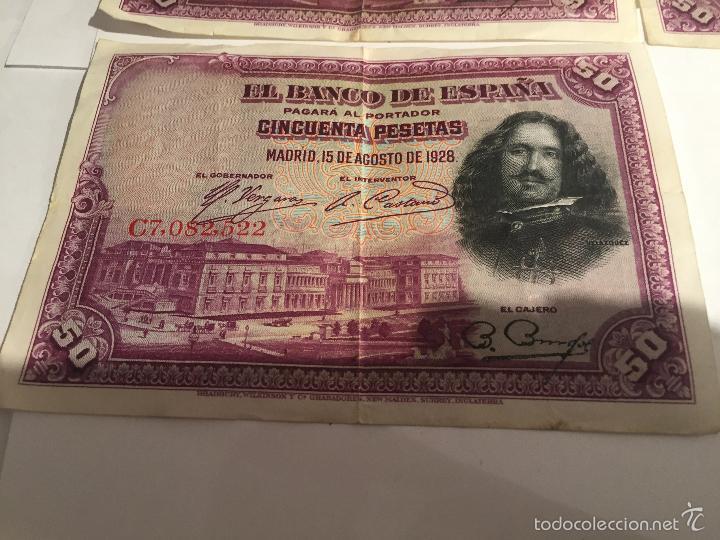 Lotes de Billetes: 3 billetes de 50 pesetas de 15 agosto de 1928 MBC - Foto 7 - 55685012