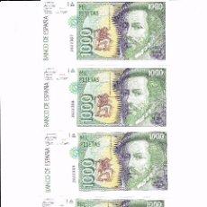 Lotes de Billetes: 4 BILLETES DE 1000 PTAS. HERNAN CORTES CORRELATIVOS, SIN SERIE Y EN PLANCHA. Lote 56559069