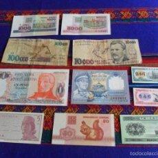 Lotes de Billetes: LOTE 11 BILLETES BILLETE ORIGINAL ORIGINALES DEL MUNDO EN MUY BUEN ESTADO. RAROS. ENTRA Y MIRA.. Lote 56637186