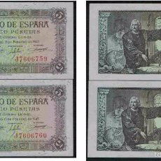 Lotes de Billetes: PAREJA CORRELATIVA 5 PESETAS 1943 SERIE J, ÚLTIMA, SIN CIRCULAR/PLANCHA. Lote 58342895