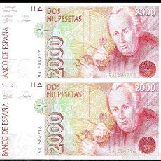 Lotes de Billetes: PAREJA CORRELATIVA 2000 PESETAS 1992 SERIE 9A S/C. Lote 58627161