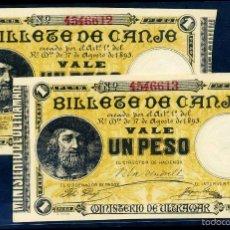 Lotes de Billetes: PAREJA CORRELATIVA SIN CIRCULAR - 1 PESO DE PUERTO RICO 1895. Lote 58685434