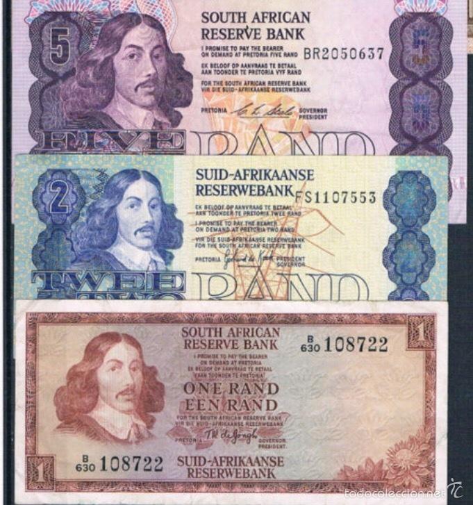 3 BILLETES SOUTH ÁFRICA 1,2,5 RAND 1961 / 1977 MUY RAROS REF 642 (Numismática - Notafilia - Series y Lotes)