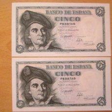 Lotes de Billetes: 5 PESETAS DE 1951 SERIE M-494/495 PAREJA CORRELATIVA (PLANCHA). Lote 59794608