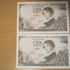 Lotes de Billetes: 100 PESETAS DE 1965 SIN SERIE PAREJA CORRELATIVA 069/070 SC- RAROS. Lote 60000611